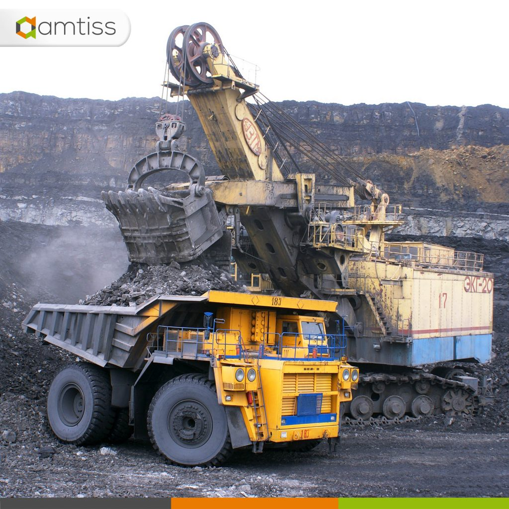 mining equipment working together on site